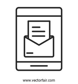 mobile phone or smartphone email app, electronic technology device line style icon