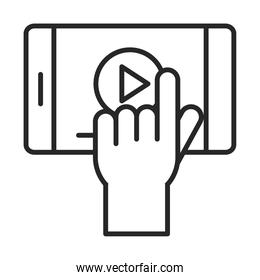 mobile phone or smartphone click screen video electronic technology device line style icon