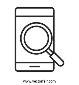 mobile phone or smartphone magnifier electronic technology device line style icon