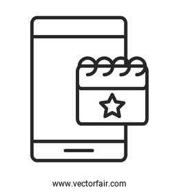 mobile phone or smartphone calendar, electronic technology device line style icon