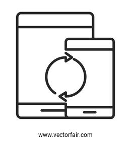 mobile phone or smartphone tablet, electronic technology device line style icon