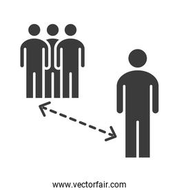 covid 19 coronavirus social distancing prevention, avoid crowded places, outbreak spreading vector silhouette style icon