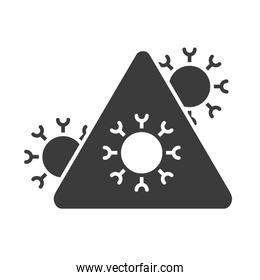 covid 19 coronavirus outbreaking and pandemic medical health risk, silhouette style icon