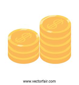 isometric money cash currency stack of coins isolated on white background flat icon
