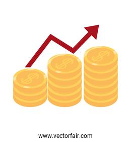 isometric money cash currency profit arrow coins chart isolated on white background flat icon