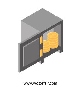 isometric money cash currency open safe box coins earning isolated on white background flat icon