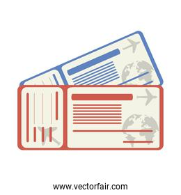 summer travel and vacation boarding pass tickets in flat style isolated icon