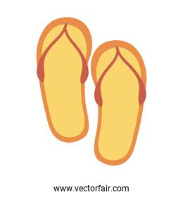 summer travel and vacation flip flops accessory in flat style isolated icon