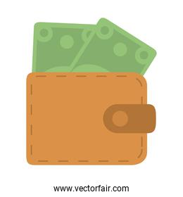 wallet with banknotes money in flat style isolated icon