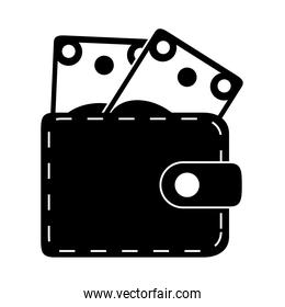wallet with banknotes money in silhouette style isolated icon