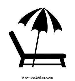 summer travel and vacation deck chair and umbrella in silhouette style isolated icon