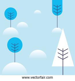 winter trees with snow vector design