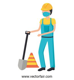 constructer man worker with medical mask vector design