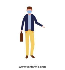 Man with medical mask and suitcase vector design