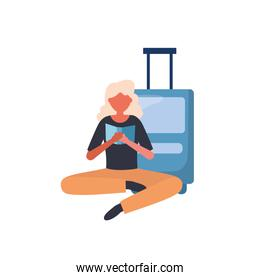 Woman with travel bag vector design