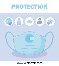 safety mask and icon set vector design