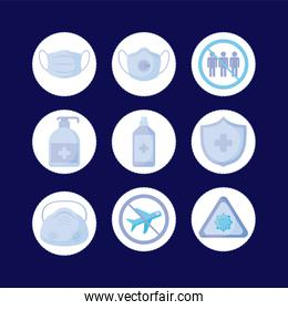 medical mask and icon set vector design