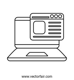 digital laptop with website line style icon vector design