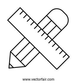 pencil and ruler line style icon vector design