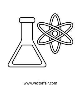 Atom and flask line style icon vector design