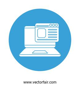 digital laptop with website block style icon vector design