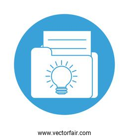 file with light bulb block style icon vector design