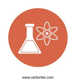 Atom and flask block style icon vector design