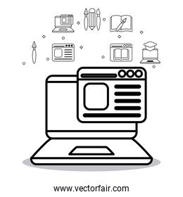 education laptop with website and icon set vector design