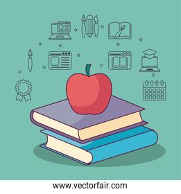 education books apple and icon set vector design