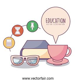book glasses coffee cup and icon set vector design