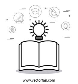 education book with light bulb and icons, line style