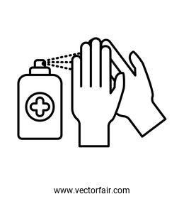 hands with soap spray line style icon vector design