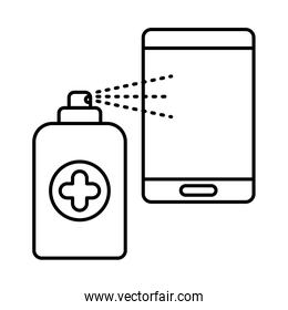 spray bottle with smartphone line style icon vector design
