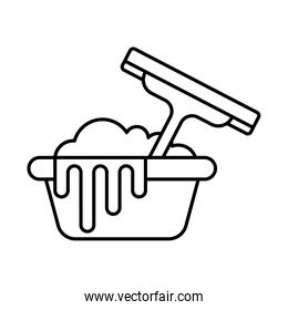 bucket and window cleaner line style icon vector design
