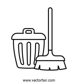 brush and trash line style icon vector design