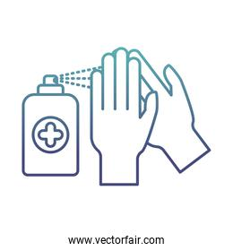 hands with soap spray degraded line style icon vector design