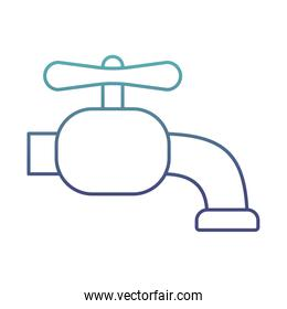 water tap degraded line style icon vector design