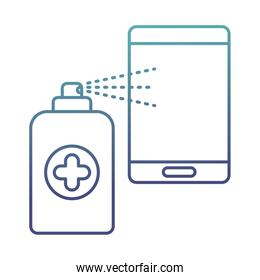 spray bottle with smartphone degraded line style icon vector design