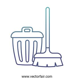 brush and trash degraded line style icon vector design