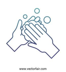 hands washing with soap degraded line style icon vector design