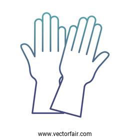 gloves degraded line style icon vector design