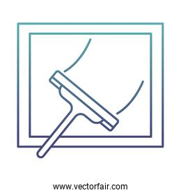 window cleaner degraded line style icon vector illustration