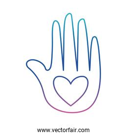Heart on hand degraded line style icon vector design