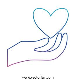 Heart over hand degraded line style icon vector design