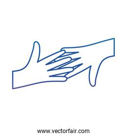 Hands touching degraded line style icon vector design