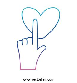 Hand touching heart degraded line style icon vector design