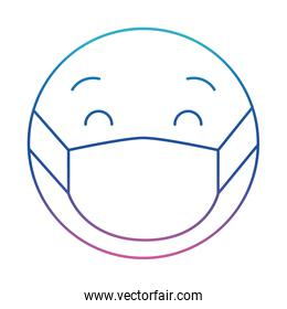 emoticon with medical mask degraded line style icon vector design