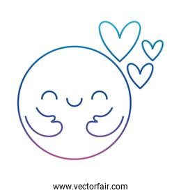 Circle cartoon with arms and hearts degraded line style icon vector design