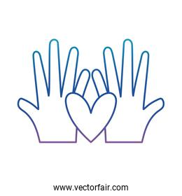 Hand with heart degraded line style icon vector design