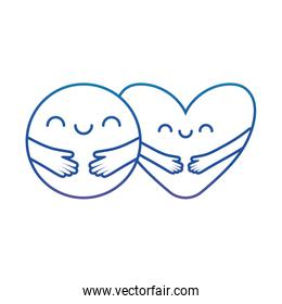 Heart and circle with arms cartoons degraded line style icon vector design